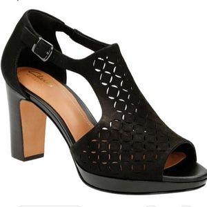 Clarks Jenness Black Suede Energy Dress Sandal 10